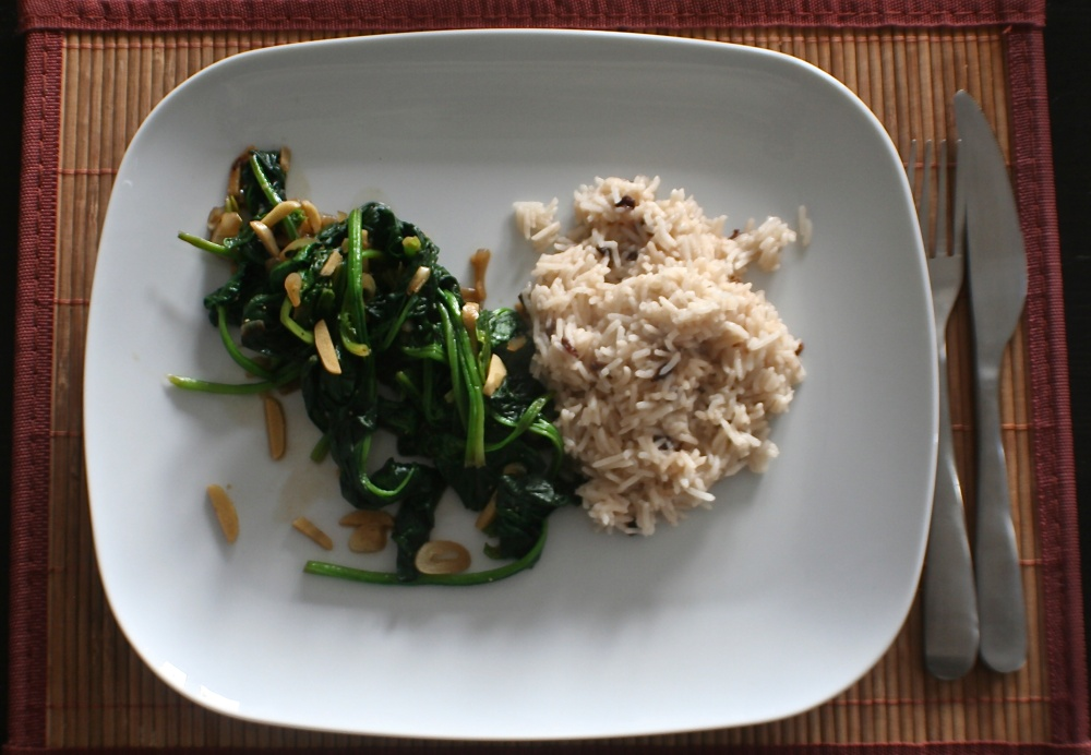 Almond Spinach with Barberry Rice
