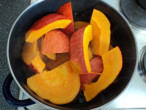 Pumpkin soup in the making