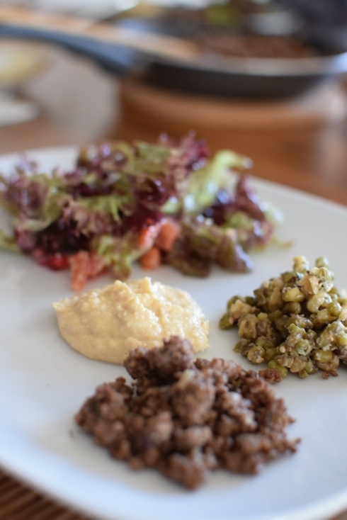 Minced meat, mung beans, hummus, pomegranate salad