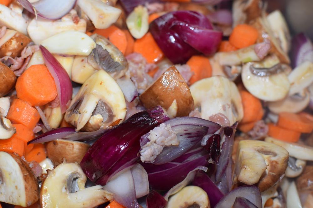 Vegetables for Coq au Vin
