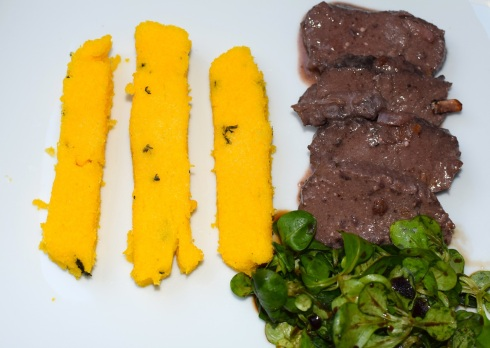 Venison roast with polenta sticks