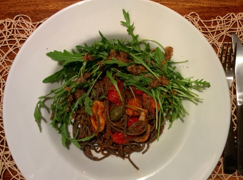 Seafood bolognese with sepia pasta